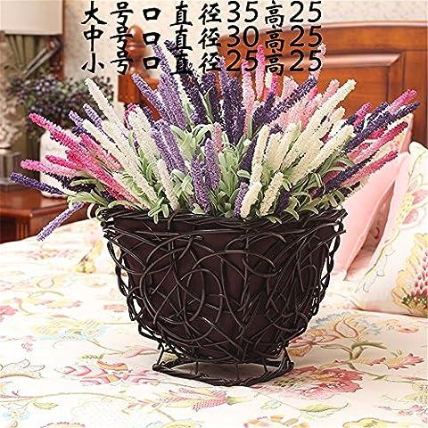 Wicker rattan Stroh Blumenkorb kreative Reiner, Blumentopf gewebte desktop Balkon Topfpflanzen pot Home Decoration Produkte, C, 35 x 25 cm