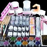 Coscelia Kit Manucure Ongles Nail Art Tips Faux Ongles Paillettes Décor Poudre Blanc Rose Clair