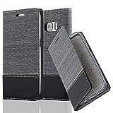 Cadorabo Hülle für Samsung Galaxy S7 - Hülle in Grau Schwarz – Handyhülle mit Standfunktion und Kartenfach im Stoff Design - Case Cover Schutzhülle Etui Tasche Book