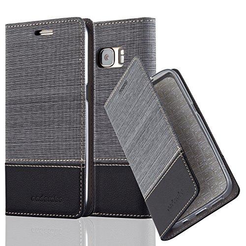 Preisvergleich Produktbild Cadorabo Hülle für Samsung Galaxy S7 - Hülle in GRAU SCHWARZ - Handyhülle mit Standfunktion und Kartenfach im Stoff Design - Case Cover Schutzhülle Etui Tasche Book