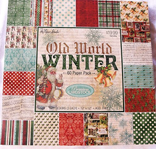 Old World Winter Christmas Scrapbooking Cardmaking Paper Pack 12x12 Dots Music Holly Snowflakes Damask Plaid 60 Sheets by Paper Studio