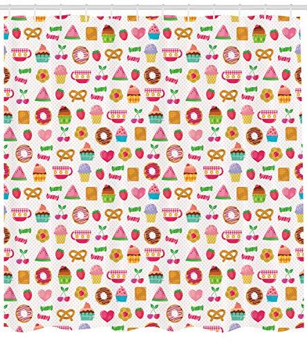 Abakuhaus Tee-Party Duschvorhang, Süße Süßigkeiten Cookies, mit 12 Ringe Set Wasserdicht Stielvoll Modern Farbfest und Schimmel Resistent, 175x220 cm, Mehrfarbig - Tee-ring-cookies