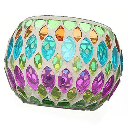 KING DO WAY Mosaic Glass Candle Holder Light Handle Tealight Candleholder Lantern Lamp Chimney Green Willow