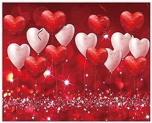 Allenjoy 3 X 2 4 M Valentinstag Hintergrund Rote Herzen Luftballons Liebe Thema Party Supplies Für Verlobung Hochzeit Brautdusche Stoff Fotografie Studio Portrait Bilder Shoot Requisiten
