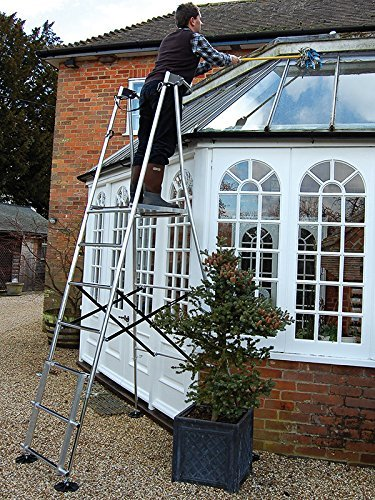 Henchman HIS4, Midi Hi-Steps, Aluminium Garden Work Platform, Ideal to Cut 3.3m/11ft Hedges, 4 x Height Adjustable Legs