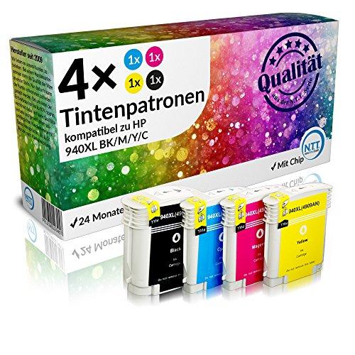 N.T.T.® 4x XL Tintenpatronen kompatibel zu HP940 XL (1 Schwarz, 1 Cyan, 1 Magenta, 1 Yellow) Multipack mit aktuellstem Chip für HP OfficeJet Pro 8000 Wireless, 8000AIO, 8000W, 8500, A809, A909a, A909g, A909n, 8500A e-All-in-One Plus, All-in-One 8500AIO, 8500W Druckerpatronen