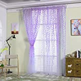 Mikolot Pastoral Willow Floral Window Curtain Bedroom Living Room Decor(Purple)