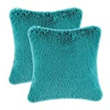 CaliTime Pack of 2 Cushion Canvas Throw Pillow Cover Case for Bench Sofa Home, Solid Plush Faux Fur 45cm x 45cm, Teal