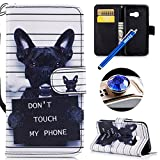 Etsue Hülle für Samsung Galaxy A5 2017 Handytasche Handy Hüllen Flip Case Cover Schutzhülle Brieftasche Ledertasche Wallet Lederhülle Etui Bookstyle Klapphülle Kartenfächer,Niedlich Hund