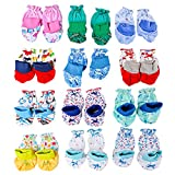 #4: Baybee New Born Baby Premium Quality Cotton Mitten Booties - Leg Warmers (Random Colors and Prints) Pack of 12