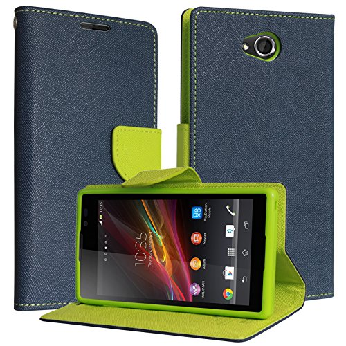 DMG Synthetic Leather Slim Wallet Flip Cover Case with Card Slots and Magnet Closure for Sony Xperia C (Pebble Blue)