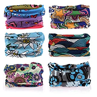 YouGa 6PCS Multifunctional Headwear Headbands Bandana Seamless Magic Scarf Tube Mask UV Insect Shield Sport Men Women Unisex (#Floral 3)