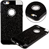 Etche Case para iPhone 5,Caso de goma para iPhone 5s,Caso de lujo para iPhone 5,Caso de la piel del gel del caucho suave cubierta trasera para iPhone 5s,Caso brillante del brillo brillante para el iPhone 5s,Rhinestone Caso tachonado diamante para el iPhone 5/5s con Blue Stylus Pen y del brillo de Bling Diamond Dust Plug colores aleatorios - negro