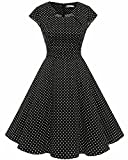 Homrain Damen 50er Vintage Retro Kleid Party Kurzarm Rockabilly Cocktail Abendkleider Black Small White Dot XL