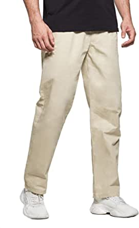 Tansozer Mens Smart Casual Chino Trousers with Elasticated Waist Hidden Drawstring