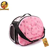Foodie Puppies Travel Pet Storage Foldable Pet Carrier Bag for Cat and Puppy Airline Pet Carrier (40cm* 26cm* 30cm) (Blush Pink)