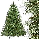 FairyTrees künstlicher Weihnachtsbaum SKANDINAVISCHE Tanne, Material PVC, echten Tannenzapfen, inkl. Metallständer, 150cm, FT16-150