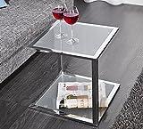 LivingArt24 Couchtisch Beistelltisch Wohnzimmertich Caro Frosted Glas Chrom