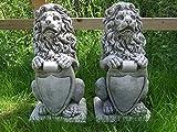 Löwe/Löwen mit Shield Kunststein Gartenornament/Statue/Skulptur/Übertopf