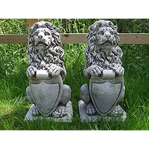 Diseño de león con escudo de león piedra adorno de jardín/Estatua/Escultura/maceta