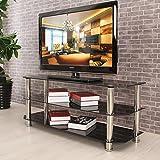 3ripiani, vetro temperato TV supporto–colore nero