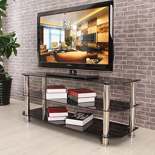 3Einlegeböden High gehärtetes Glas TV stehen–schwarz Farbe