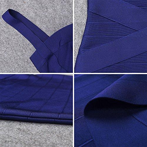 HLBandage Spaghetti Bügel Damen Kunstseide Mini Verband Kleid Marine Blau