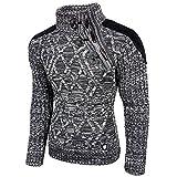 Rusty Neal Herren Pullover Grobstrick Pulli Sweatshirt Strickjacke Jacke 13283, Farbe:Anthrazit;Größe:XL