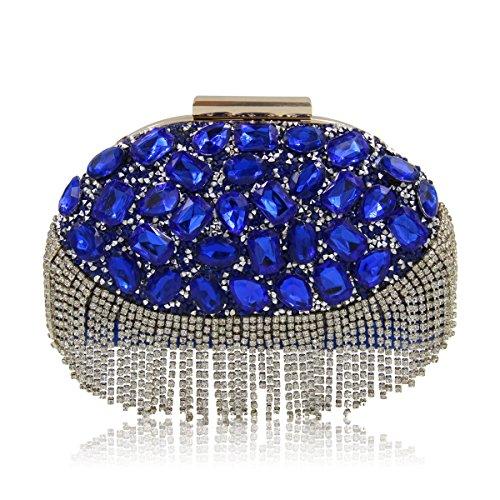 Lady Abend Kupplungen Tasche Quaste Luxus Dinner Party Bunte Shells Abend Stickerei Tasche Blue-A