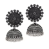 #3: Jaipur Mart Oxidised Silver Plated handmade Jhumka Jhumki Earrings For Women