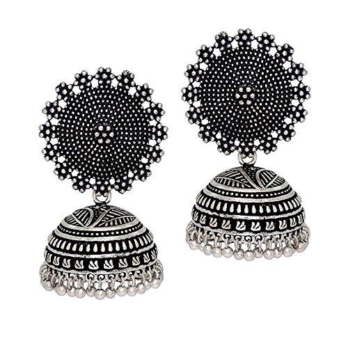 Jaipur Mart Oxidised Silver Plated Handmade Jhumki Earrings For Women