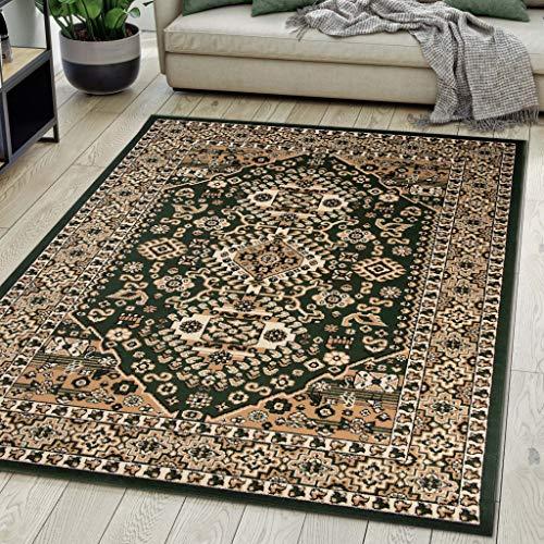 Carpeto Rugs Alfombra de salón Oriental Persa Pelo Corto Verde 70x140 cm