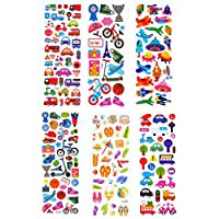 DADATU Stickers 6 Sheets Transportation Vacation Sports Play Games Cute Car Bus Scrapbooking Bubble Stickers Emoji Reward Kids Toy Factory Sales