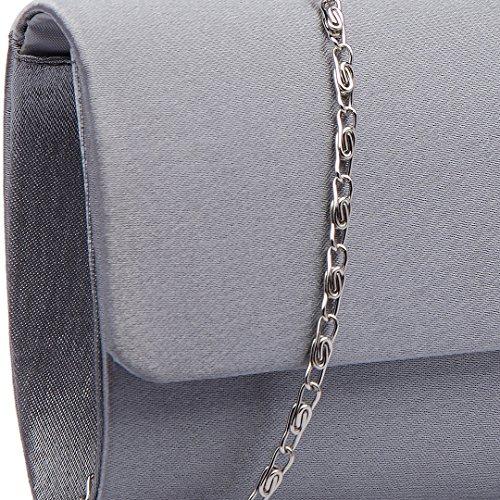 Miss Lulu, pochette da donna con fibbia decorata di diamanti, ideale per matrimoni e serate fuori 6681 Evening Clutch Grey