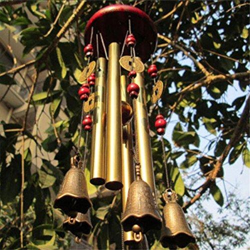 Ecosway traditionell chinesisches Windspiel mit 4 Rohren und 5 Bronze-Glöckchen, für den Garten, Hof, Innen- und Außenbereich, hängende Dekoration, tolles Geschenk