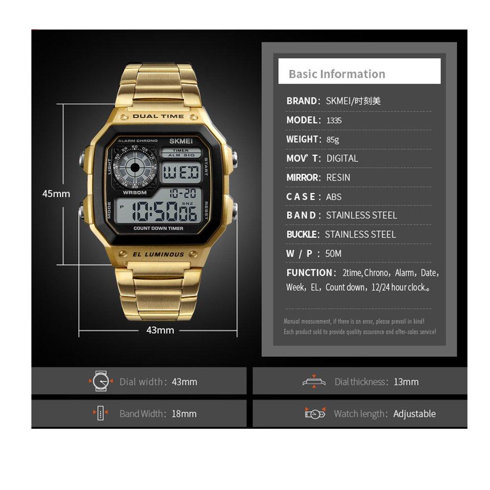 c0abbfa62e01 Skmei Reloj Digital Hombre Acero Dorado de Lujo Cuadrado Retro ...