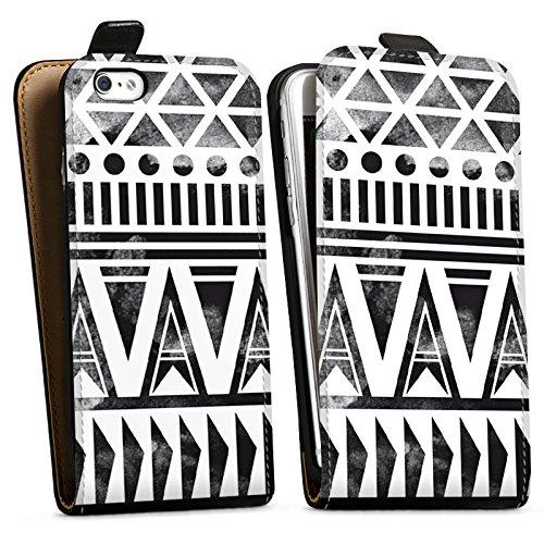 Apple iPhone X Silikon Hülle Case Schutzhülle Ethno Modern Schwarz-Weiß Downflip Tasche schwarz