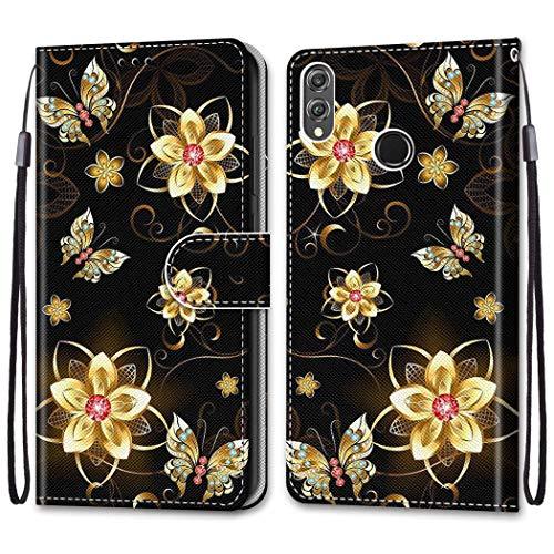 Nadoli Bunt Leder Hülle für Huawei P Smart 2019,Cool Lustig Tier Blumen Schmetterling Entwurf Magnetverschluss Lanyard Flip Cover Brieftasche Schutzhülle mit Kartenfächern