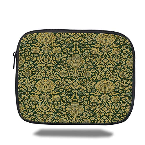 Tablet Bag for Ipad air 2/3/4/mini 9.7 inch,Floral,Victorian Baroque Flower Motifs with Swirl Petals and Branches Print,Hunter Green Earth Yellow,Bag -