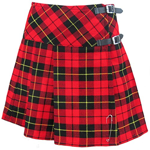 Tartanista - Schottischer Mini-Kilt mit Lederriemen - Wallace - 51 cm - EU40 (Mini-rock Karo)