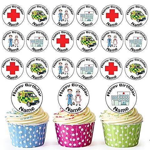 hôpital Mélange 24personnalisé comestible pour cupcakes/décorations de gâteau d'anniversaire–Facile prédécoupée + Cercles