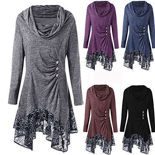 IZHH Kleider Damen Mode Spitze Patchwork Knopf Bogen Ausschnitt Langarm Unregelmäßige Minikleid Spitze...