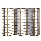 Homestyle4u 227, Paravent Raumteiler 6 teilig, Holz Braun Tabak, Reispapier Weiß, Höhe 175 cm
