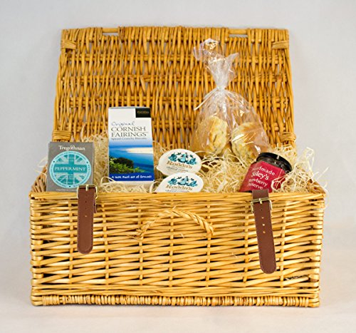 Cornish Cream Tea Hamper With Peppermint Tea In A Wicker basket