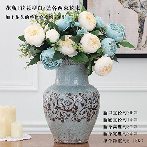 Beata.T American Peonia Fiori artificiali fiore di emulazione che fa aderire il campione di uso domestico Casa ornamenti di gioielli,vasi blu+Bud-White/due blu Kit