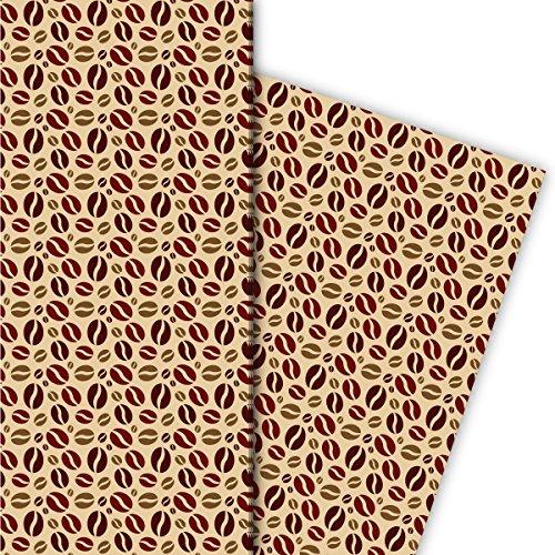 Kaffehaus Geschenkpapier Set (4 Bogen)/Dekorpapier mit Kaffeebohnen, beige, für schöne Geschenk...