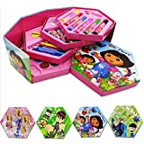 Kieana Princess Colors Box Dora Set For Kids For Drawing , Painting , Color Pencil, Crayons, Water Color, Sketch Pens (Set Of 46 Pieces), Coloring Set For Children , Cartoon Animated Printed Designer Drawing Material , Colour Kit Specially Designed For Sc