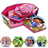 #8: Kieana princess Colors Box dora set for kids for drawing , painting , Color Pencil, Crayons, Water Color, Sketch Pens (Set Of 46 Pieces), Coloring set for children , Cartoon animated printed designer drawing material , colour kit specially designed for school going boys and girls, return gift, birthday gifts online