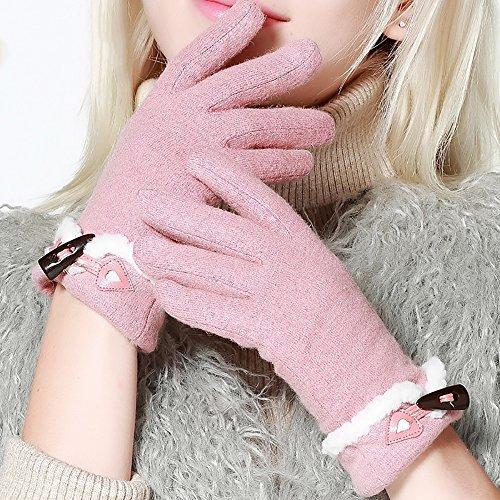 Gestrickte Handschuhe Frau Handschuhe Winter Verdickung Warm Lernen / Motorrad / Reiten / Fahren / Damen Handschuhe Warme Handschuhe ( Farbe : Pink )