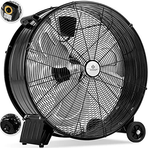 Boden-gebläse (KESSER® KE-60 Industrie Ventilator Trommelventilator   Windmaschine   Bodenventilator   Hallenlüfter   Ø60 cm   (24') Trommelgebläse   Industrieventilator   Standventilator   Hallenkühlung 160 Watt)